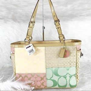 New COACH F14868 Multicolor Patchwork East West